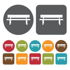 Wooden bench icons set. Round and rectangle colourful 12 buttons