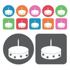 First birthday cake icons set. Round and rectangle colourful 12