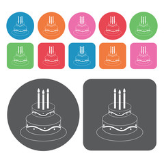 2 layer cake with 3 candle icons set. Round and rectangle colour