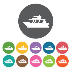 Yacht icons set. Round colourful 12 buttons. Vector illustration