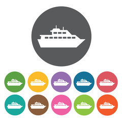 Ferry boat icons set. Round colourful 12 buttons. Vector illustr