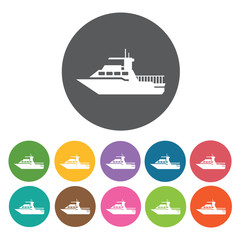 Private yacht icons set. Round colourful 12 buttons. Vector illu