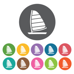 Sailors boat icons set. Round colourful 12 buttons. Vector illus