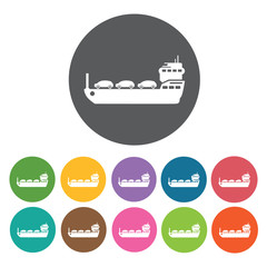 Tanker ship icons set. Round colourful 12 buttons. Vector illust