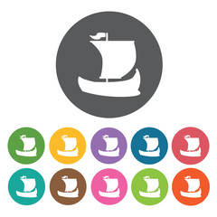Vikings ship icons set. Round colourful 12 buttons. Vector illus