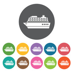 Cruise ships icons set. Round colourful 12 buttons. Vector illus