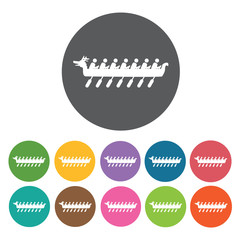 Rowing boat icons set. Round colourful 12 buttons. Vector illust