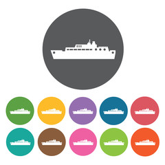 Ship icons set. Round colourful 12 buttons. Vector illustration