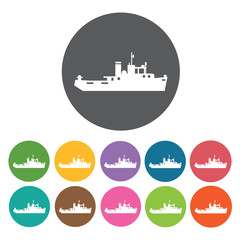 Marine ship icons set. Round colourful 12 buttons. Vector illust