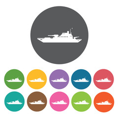Military ship icons set. Round colourful 12 buttons. Vector illu