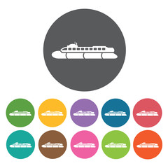 Tug boat icons set. Round colourful 12 buttons. Vector illustrat