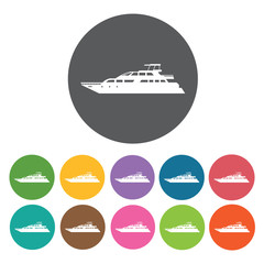Private boat icons set. Round colourful 12 buttons. Vector illus