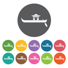 Chinese rowing boat icons set. Round colourful 12 buttons. Vecto