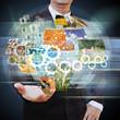 businessman holding social network