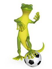 Gecko with a football