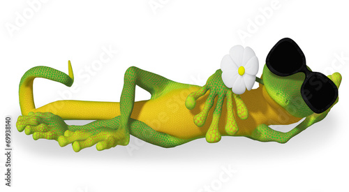 Gecko with a flower