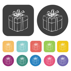 Gift box icons set. Round and rectangle colourful 12 buttons. Ve