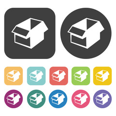 Empty opened box icons set. Round and rectangle colourful 12 but