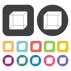 3d box drawing icons set. Round and rectangle colourful 12 butto