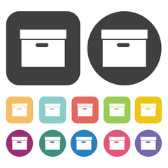 Office box icons set. Round and rectangle colourful 12 buttons.