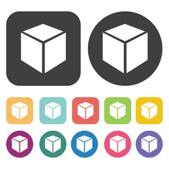 Closed box icons set. Round and rectangle colourful 12 buttons.