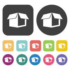 Open box side view icons set. Round and rectangle colourful 12 b