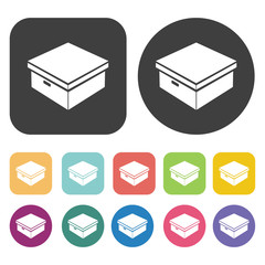 Shoe box icons set. Round and rectangle colourful 12 buttons. Ve