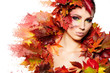 Autumn Woman portrait with creative makeup