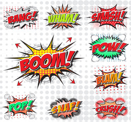 Comic sound effect wording set