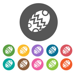 Easter egg icons set. Round colourful 12 buttons. Vector illustr