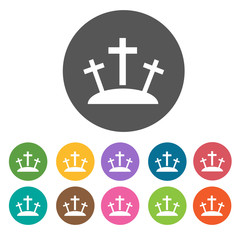 Crosses at calvary icons set. Round colourful 12 buttons. Vector