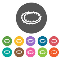 Crown of thorns icons set. Round colourful 12 buttons. Vector il