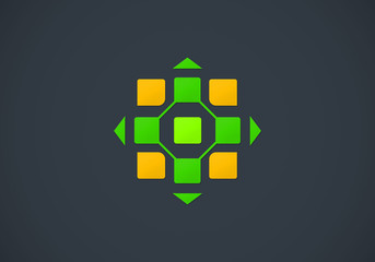 square geometry color jigsaw technology logo
