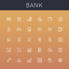 Vector Bank Line Icons