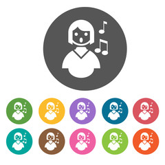 Choir singing icons set. Round colourful 12 buttons. Vector illu