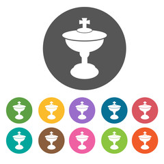 Holy cup icons set. Round colourful 12 buttons. Vector illustrat