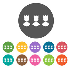 Three kings icons set. Round colourful 12 buttons. Vector illust