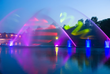 Colorful and musical fountain in Vinnitsa. Ukraine