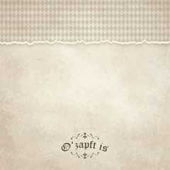 old vintage background with checkered pattern and patch O'zapft
