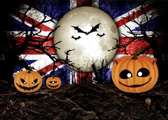 Halloween Festival and United Kingdom Flag Background
