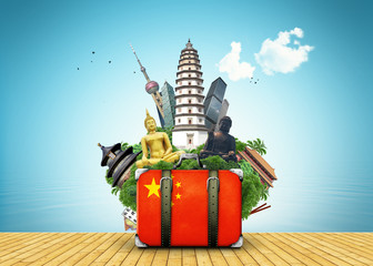 China, China landmarks, travel and retro suitcase