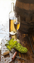 still life with white wine