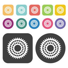 Triple gear icon symbol set. Gear set. Round and rectangle colou