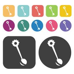 Mixer gear icon symbol set. Gear set. Round and rectangle colour