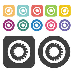 Bicycle chain icon symbol set. Gear set. Round and rectangle col