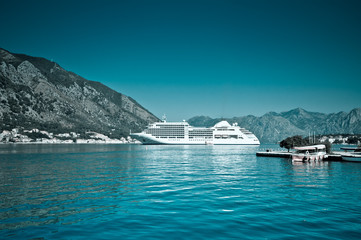 Cruise liner in bay