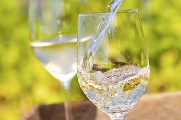 Weißweinglas und Reben Weinglässer
