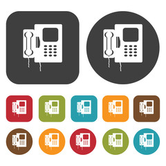 Retro phone icon symbol set. Telephone and home phone set. Round