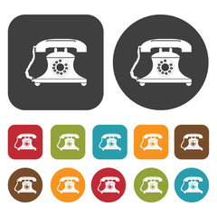 Ancient telephone icon symbol set. Telephone and home phone set.
