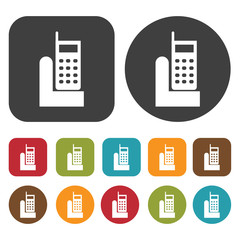 Handset icon symbol set. Telephone and home phone set. Round and